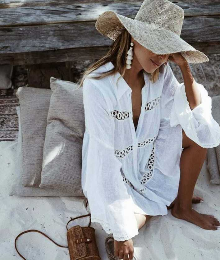 Bohemian Eyelet Casual Beach Dress Coverups Beachwear