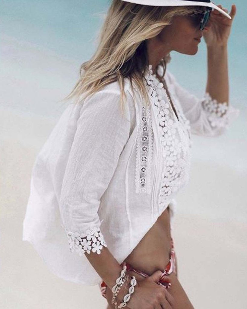 Plus Size Sweet Crochet Lace Button Up Shirt Top