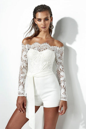 Boho White Lace Off The Shoulder Romper Playsuits Long Sleeve