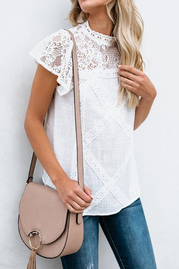 Cute Boho Chic Short Sleeve Lace Shoulder Blouse Shirts