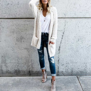 Oversized Faux Wool Long Hooded Cardigan With Pockets