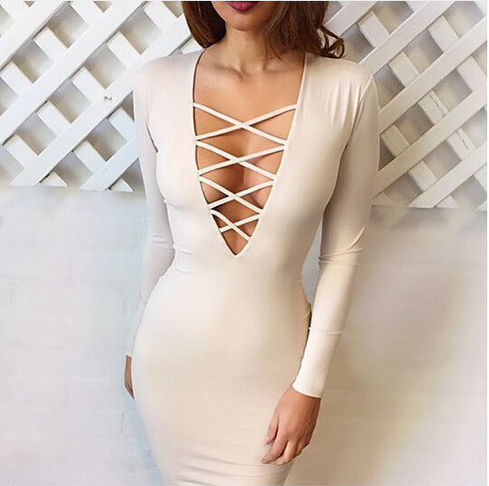 Plunging Front Criss Cross Bodycon Dress Long Sleeve