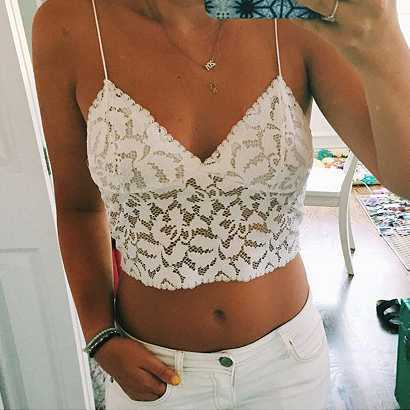 V Neck lace trim cami crop top camisoles tanks tops