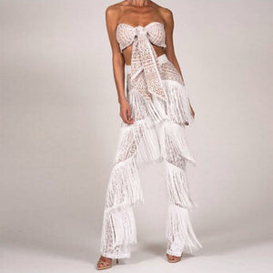 Front Tie Lace Bandeau Top & Flared Tassel Pants