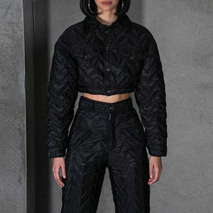 Chevron Quilted Black Lightweight Padded Puffer Cropped Jacket