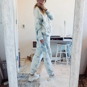 Matching Tie Tye Two Piece Sets Dyed Hoodie And Pants