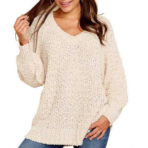 Comfy Oversized V Neck Popcorn Sweater Pullover