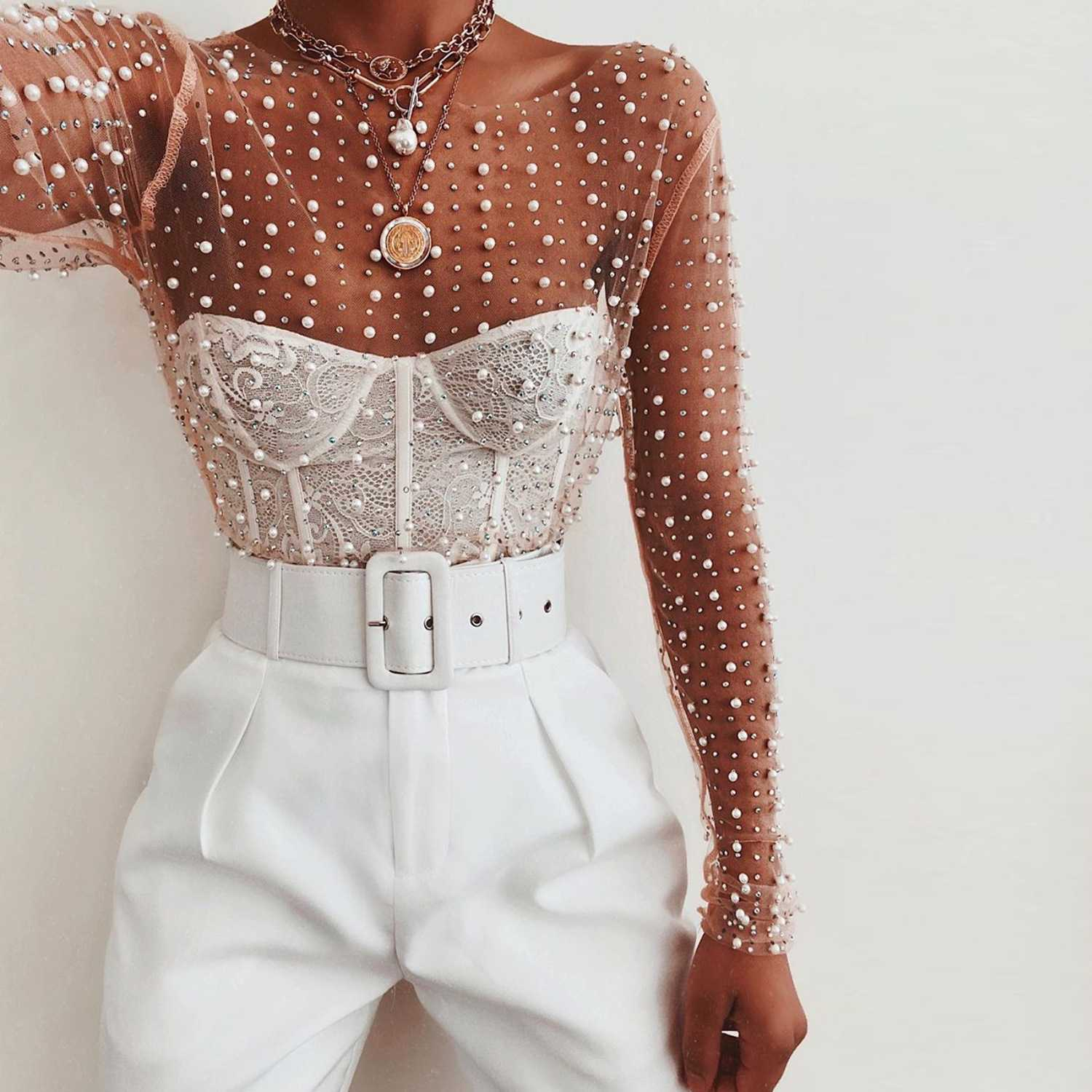 Luxury Pearls And Rhinestone Studded Embellished Mesh Shirts