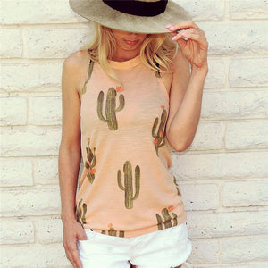 Free Ship Cactus Print High Neck Tank Tees