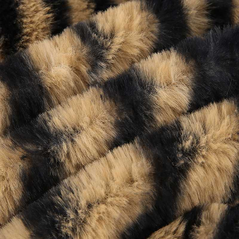 Classy Animal  Prints Zebra Stripes Faux Fur Collar Fur Coats