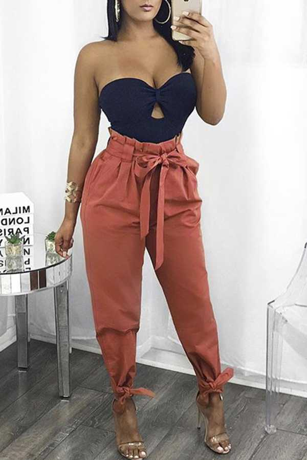 High Waisted Bow Tie Waist Cargo Pants Baggy Trousers
