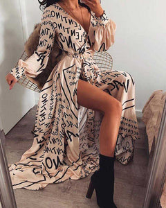 Retro Festival Word Printed V Neck Long Sleeve Thigh Split Maxi Dress Gowns