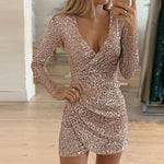 Ruched Sparkle Classic Front Wrap Rose Gold Long Sleeve Sequin Dress