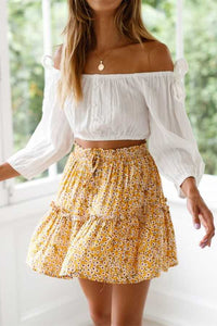 Elastic Fitting Boho Tie Front High Waist Layered Ruffle Floral Skirt