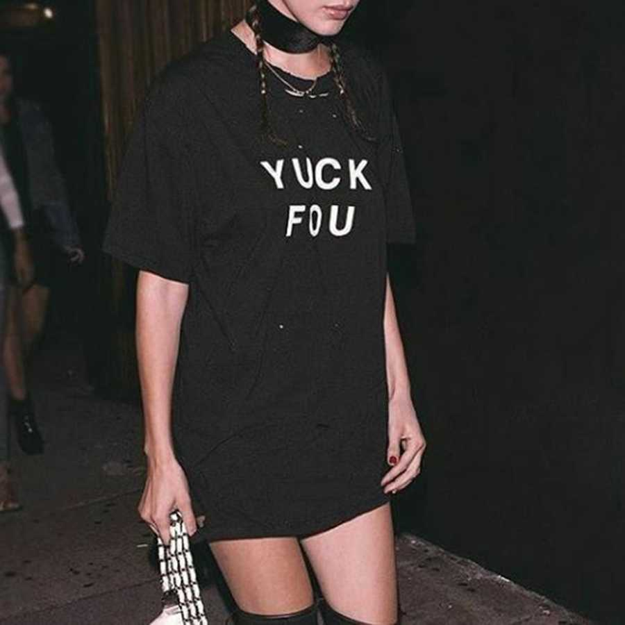 Personalized Women Slogan Black Tee Dress
