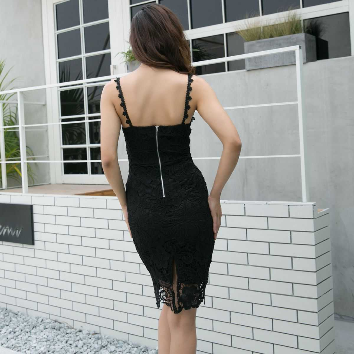 Elegant Handmade Crochet Lace Mesh Overlay Midi Bodycon Dress