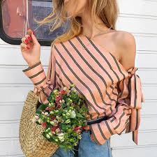 Angel Striped Chiffon Off Shoulder Blouse-Rue Tata