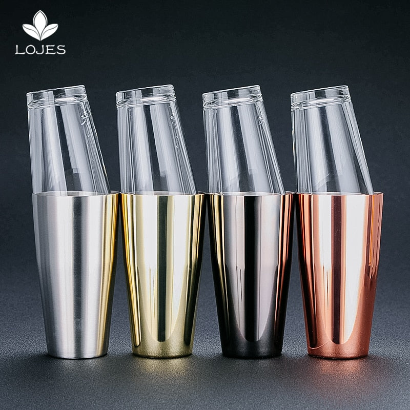 Hot Sale Practical 2pcs Stainless Steel Cocktail Shaker Mixer Drink Bartender Kit Bars Set Tools Boston Shaker Cup