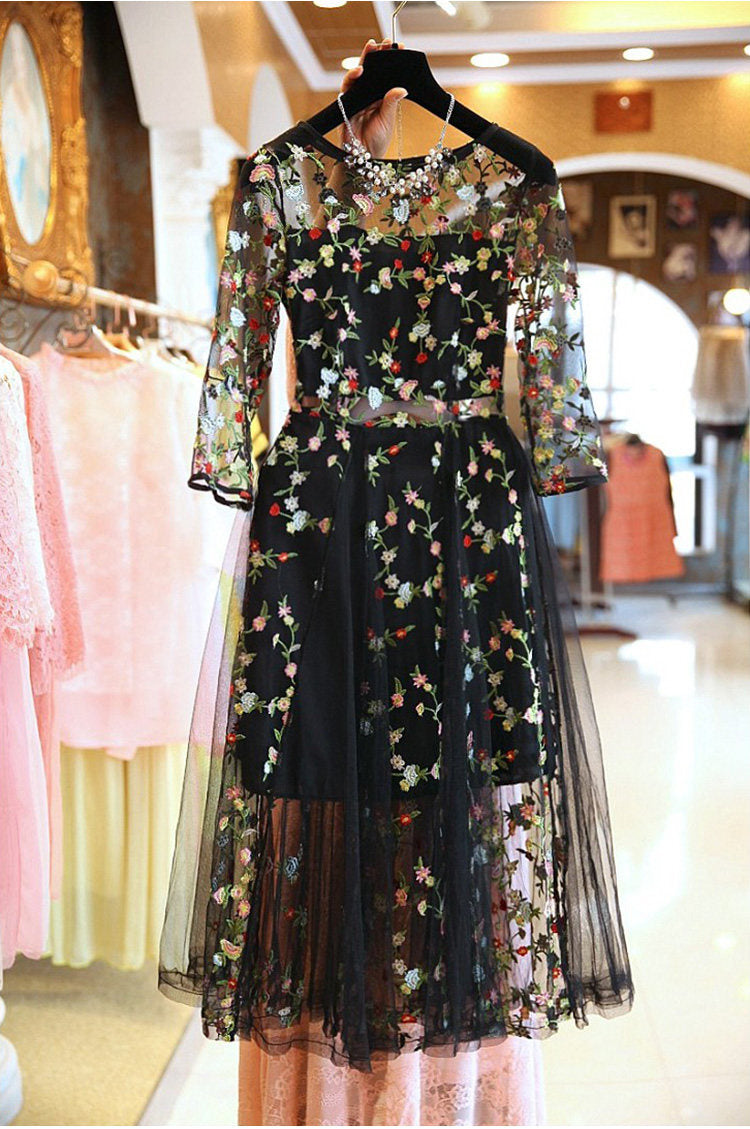 Elena Elegant Embroidery Floral Dress-Rue Tata