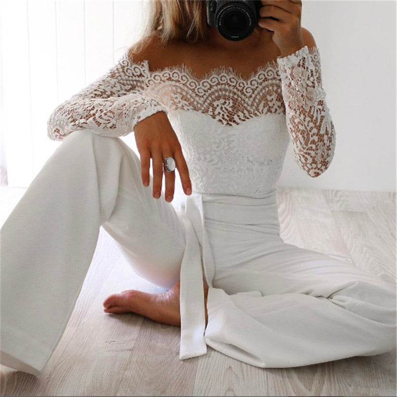 Off Shoulder Long Lace Sleeve Jumpsuit-Rue Tata