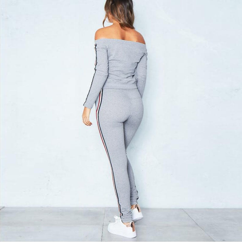 Sexy Off Shoulder Two Piece Tracksuit-Rue Tata