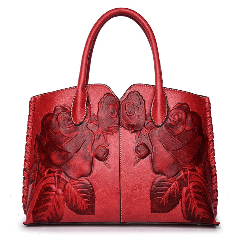 Genuine Leather Embossed Hand Tote-Rue Tata
