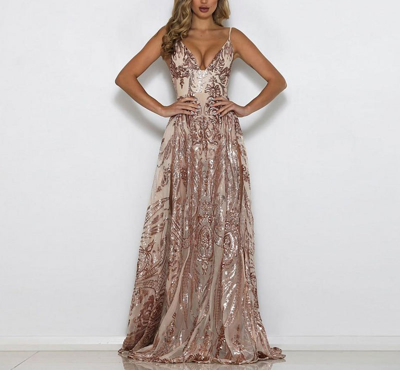 Elegant Sexy Deep V Neck Sequins Split Dress-Rue Tata