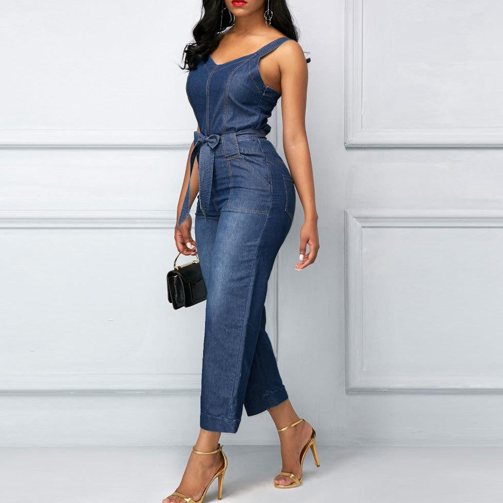 Denim Wide Leg Jumpsuit-Rue Tata