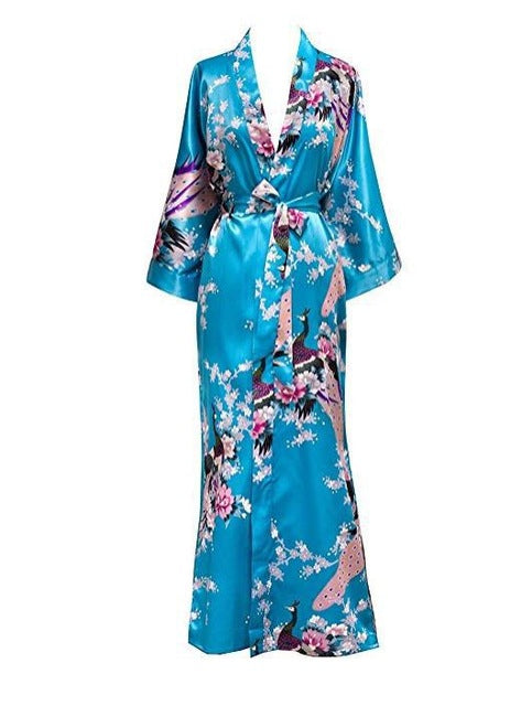 Floral Print Long Kimono Bathrobe Satin Feel