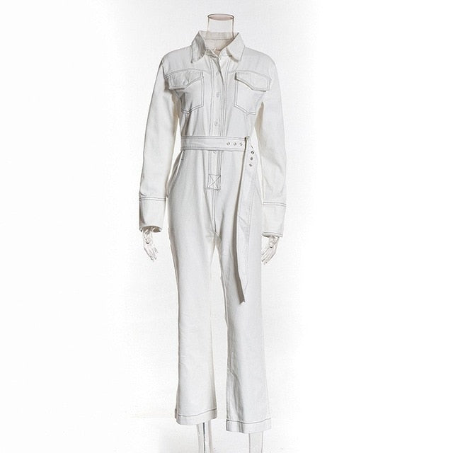 Denim Belted Front Pockets Jumpsuit-Rue Tata