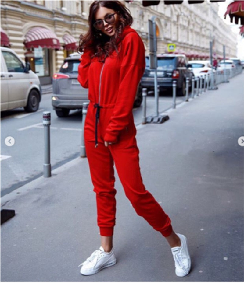 Sexy Long Sleeve Hooded Drawstring Jumpsuit-Rue Tata