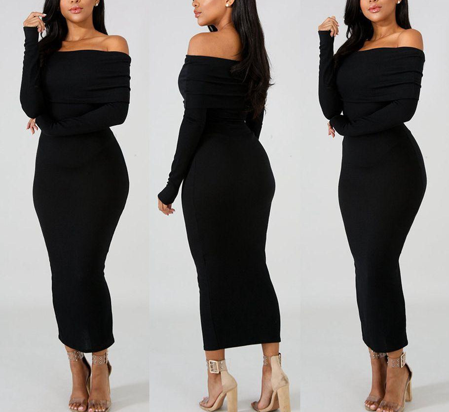 Tara Off Shoulder Bodycon Long Sleeve Knitted Dress-Rue Tata
