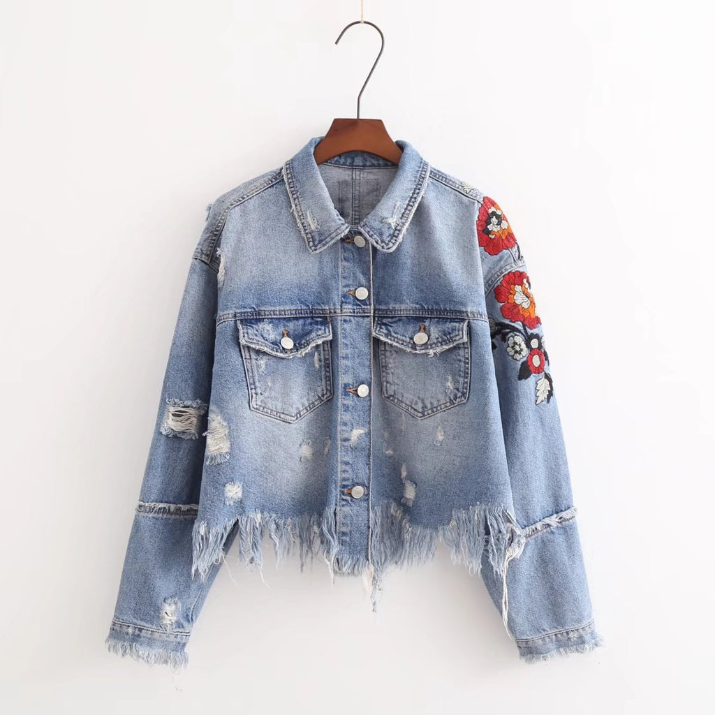 Denim Ragged Edges Floral Embroidered Jacket-Rue Tata