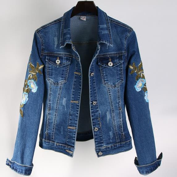Flower Embroidered Denim Jacket Plus Sizes-Rue Tata