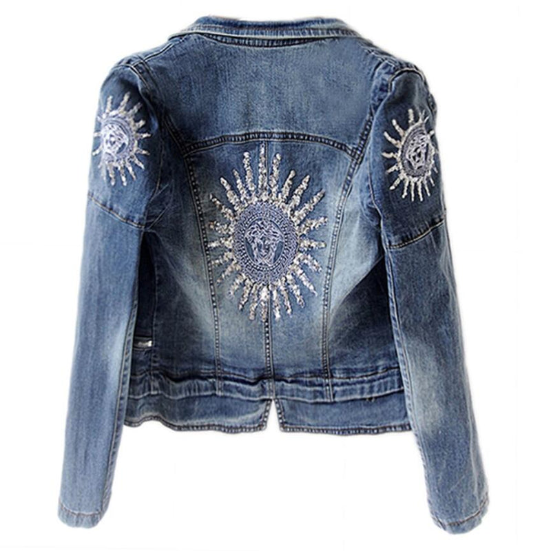 Star Design Denim Cropped Jacket-Rue Tata