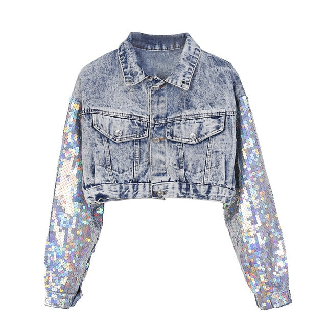 Sparkles Sleeves Cropped Denim Jacket-Rue Tata