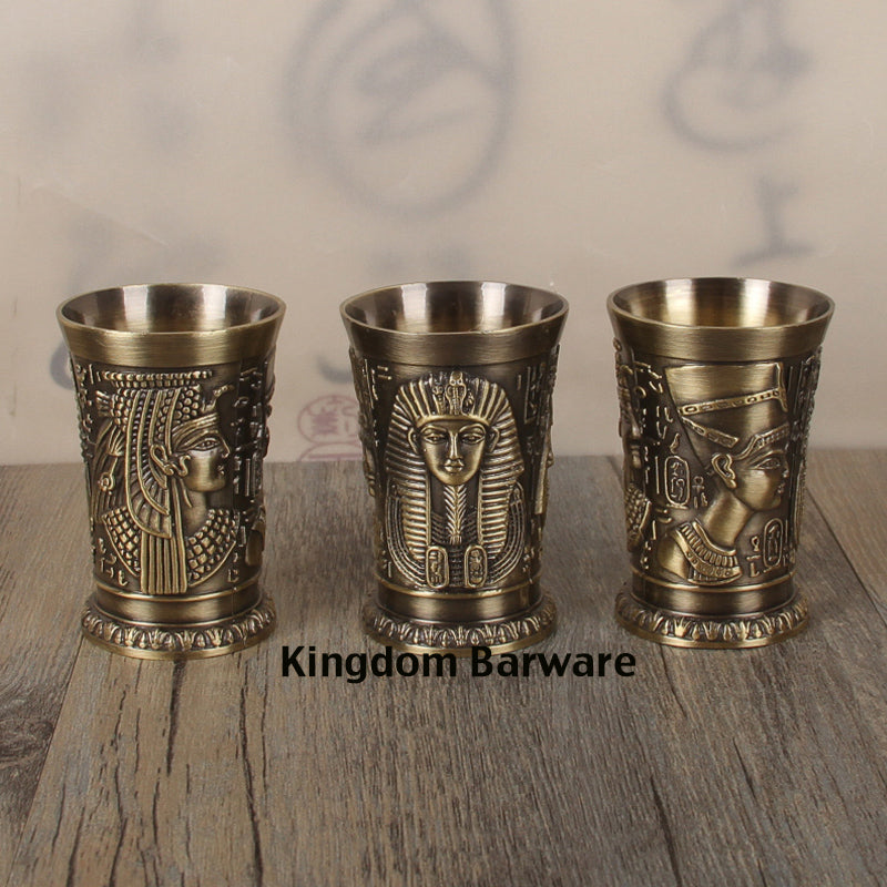 1PCS 40ml Metal Alloy Creative Ancient Egypt Shot Glass Mini Mug Espresso Mugs Whiskey Shot Glasses