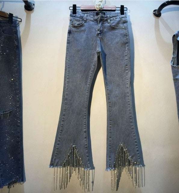 Diamond Beaded Fringed Denim Pants-Rue Tata