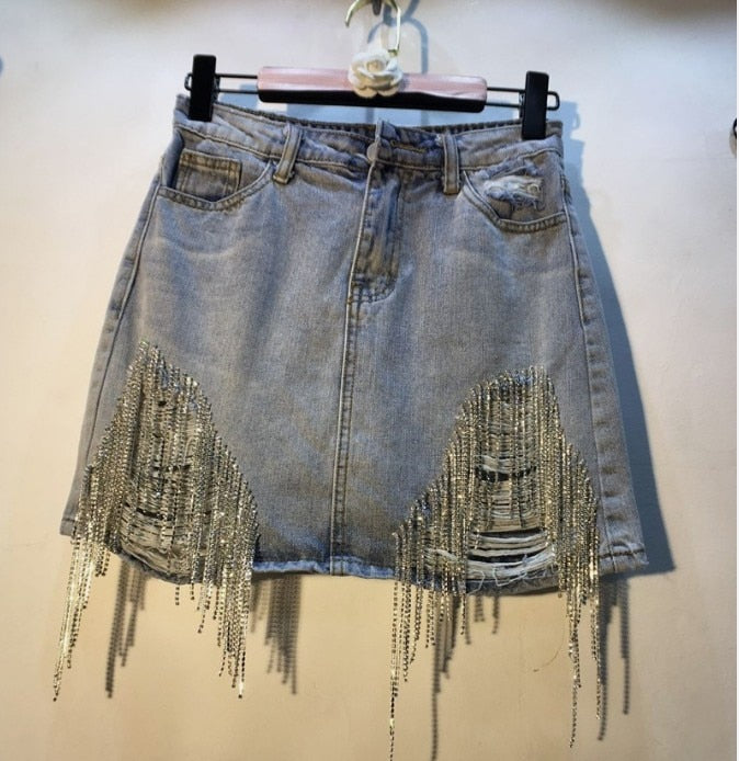 Blue Ripped Denim Rhinestone Sparkles Mini Skirt-Rue Tata