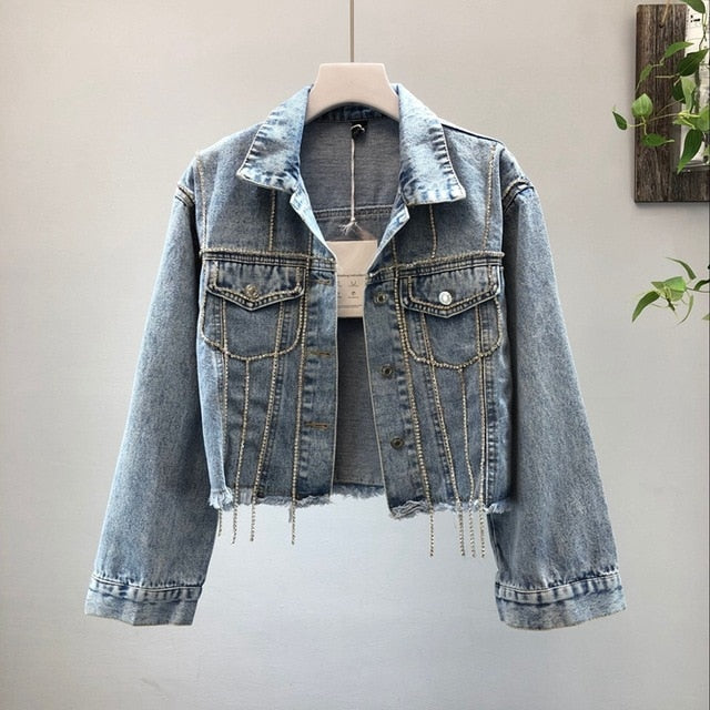 Diamond Tassels Cropped Denim Jacket-Rue Tata