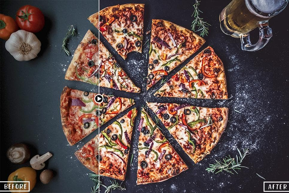 food photography lightroom presets filters instagram Pizza