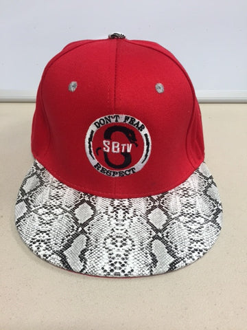 SBTV- Don't Fear Respect- Red/ Snakeskin Ball Cap
