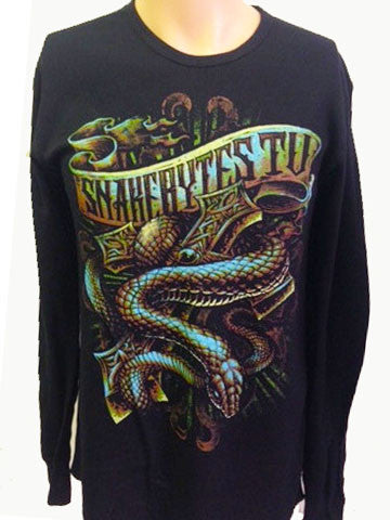 SnakeBytes Snake & Cross Black Long Sleeve Thermal Shirt - BHB Reptiles