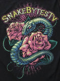 Women's Snake + Rose Black T Shirt - BHB Reptiles