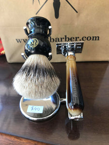 OZ BARBER CHROME METAL SHAVING BRUSH & RAZOR HOLDER STAND #20 - Ozbarber