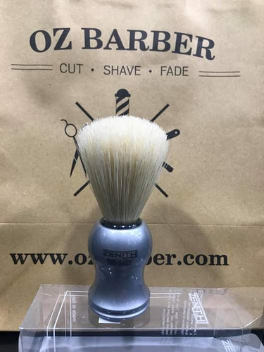ZENITH PURE BRISTLE SILVER PALSTIC HANDLE SHAVING BRUSH 2004/A - Ozbarber