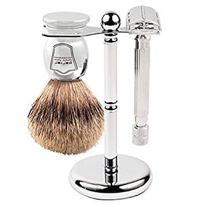 PARKER DELUXE CHROME 2-PRONG RAZOR AND BRUSH SHAVE STAND - Ozbarber