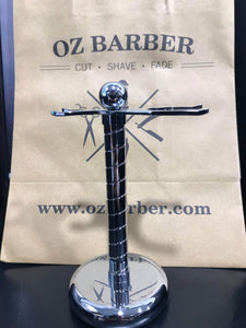 OZ BARBER CHROME & BROWN SHAVING BRUSH AND SAFETY RAZOR STAND #42