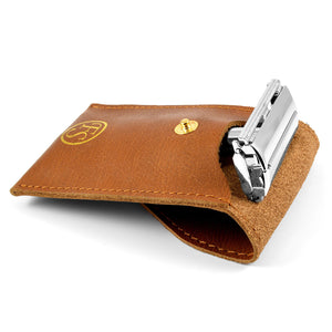 Frank Shaving Brown Leather Case For Safety Razor - Ozbarber