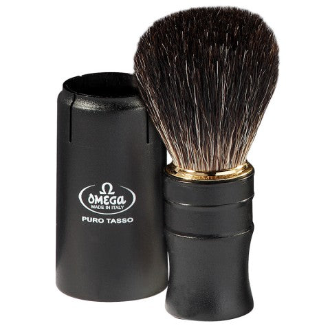 OMEGA BLACK BADGER SHAVING BRUSH – CLOSABLE HANDLE FOR TRAVELLING 614 - Ozbarber